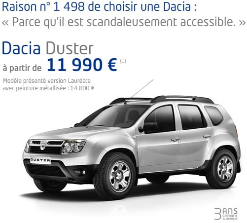 quel prix pour le dacia duster 2011. Black Bedroom Furniture Sets. Home Design Ideas