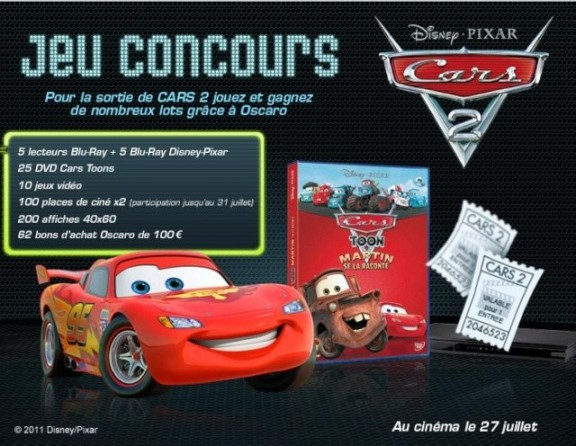 cars 2 en partenariat avec oscarao un grand jeu concours. Black Bedroom Furniture Sets. Home Design Ideas
