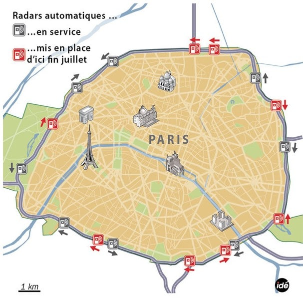 carte radars paris 2014