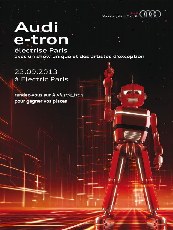 affiche soiree Audi e-tron electric paris