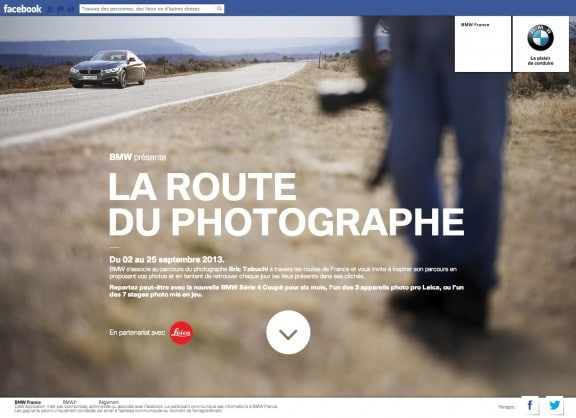 L'application Facebook La Route du Photographe
