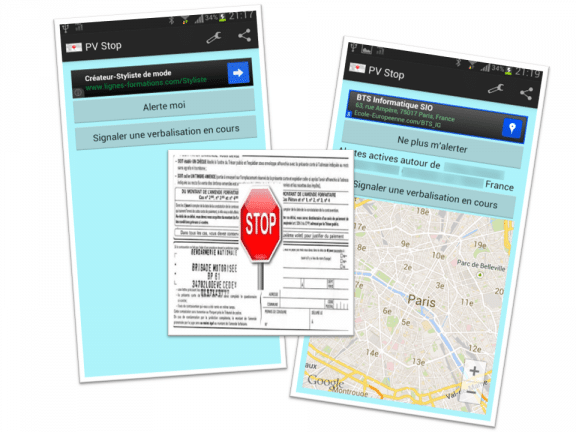 "Captures d'écran de l'application ""PV Stop"""