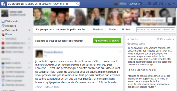 groupe facebook antiradar aveyron