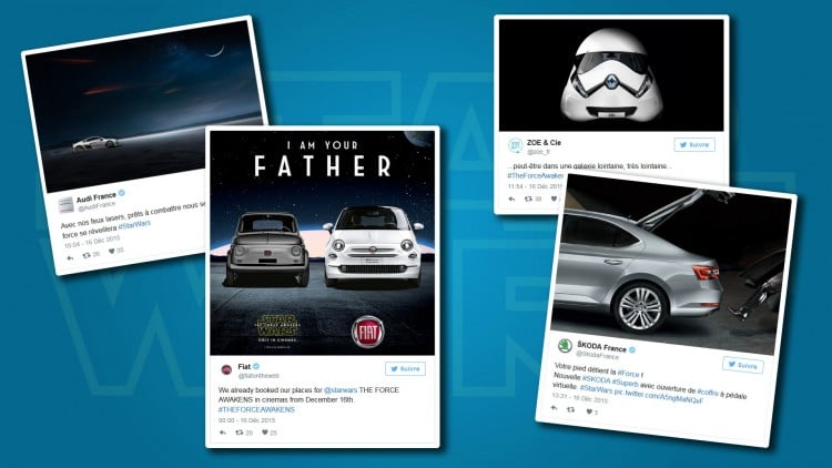 tweets automobiles Star Wars reveil de la force
