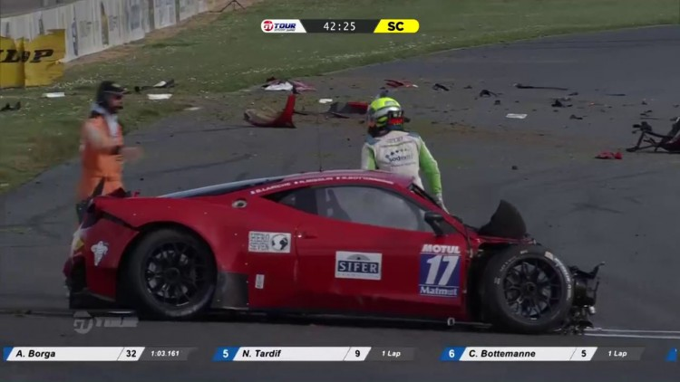 crash Sacha Bottemanne Ferrari GT Tour